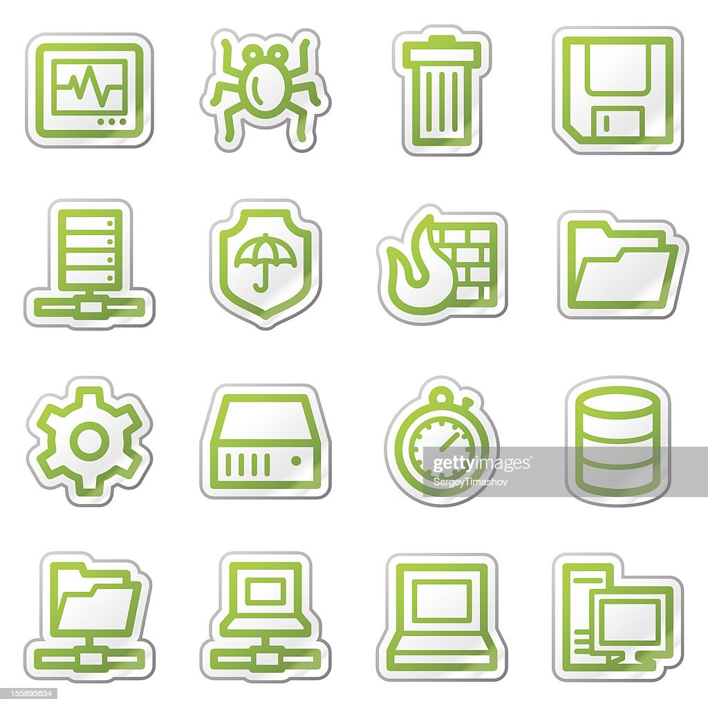 Data security web icons, green sticker series