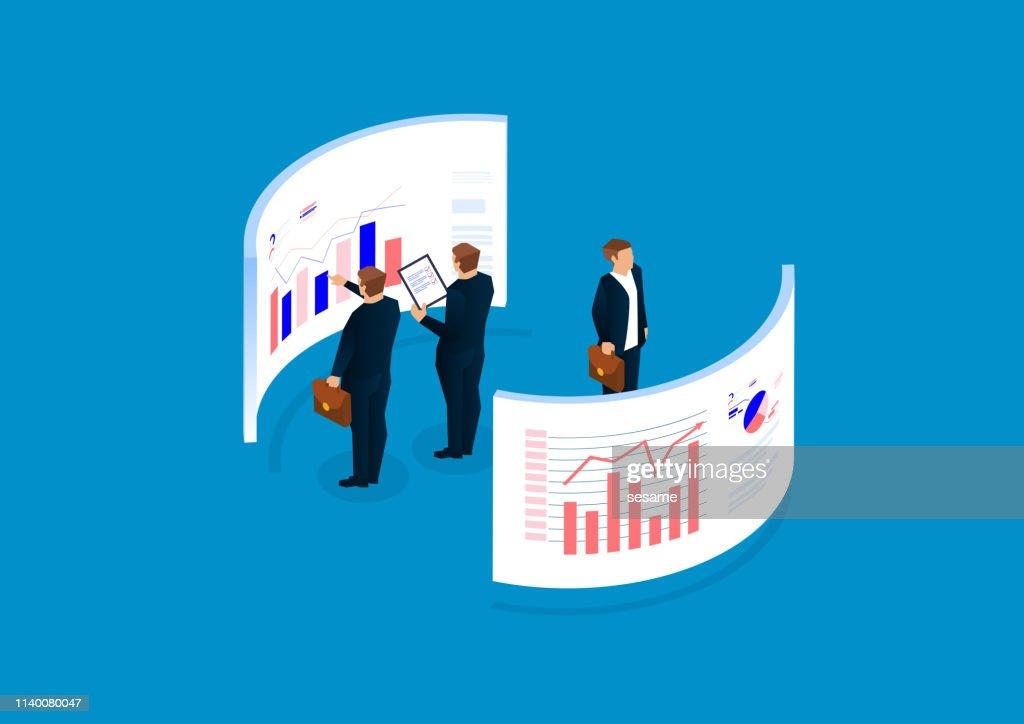 Statistiche e analisi dei dati, gestione finanziaria, visualizzazione dei dati : Illustrazione stock
