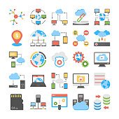 Data Storage and Web Hosting Flat Vector Icons