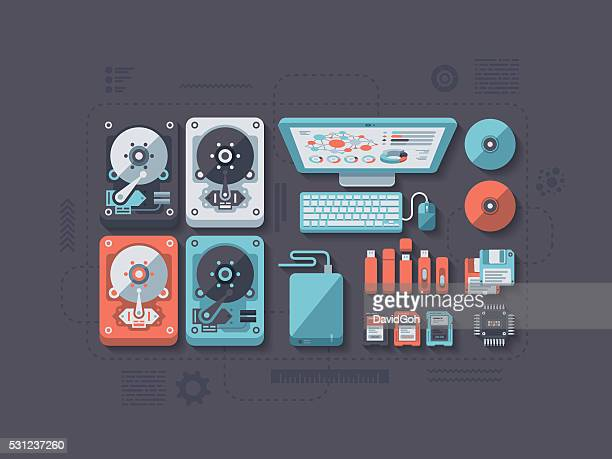 data storage flat design concept - floppy disk stock illustrations, clip art, cartoons, & icons