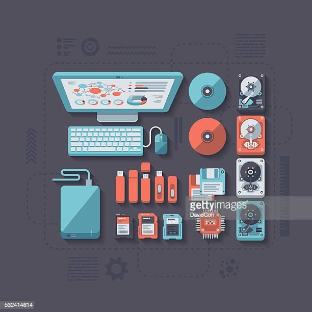 data storage flat design concept - usb stick stock illustrations, clip art, cartoons, & icons