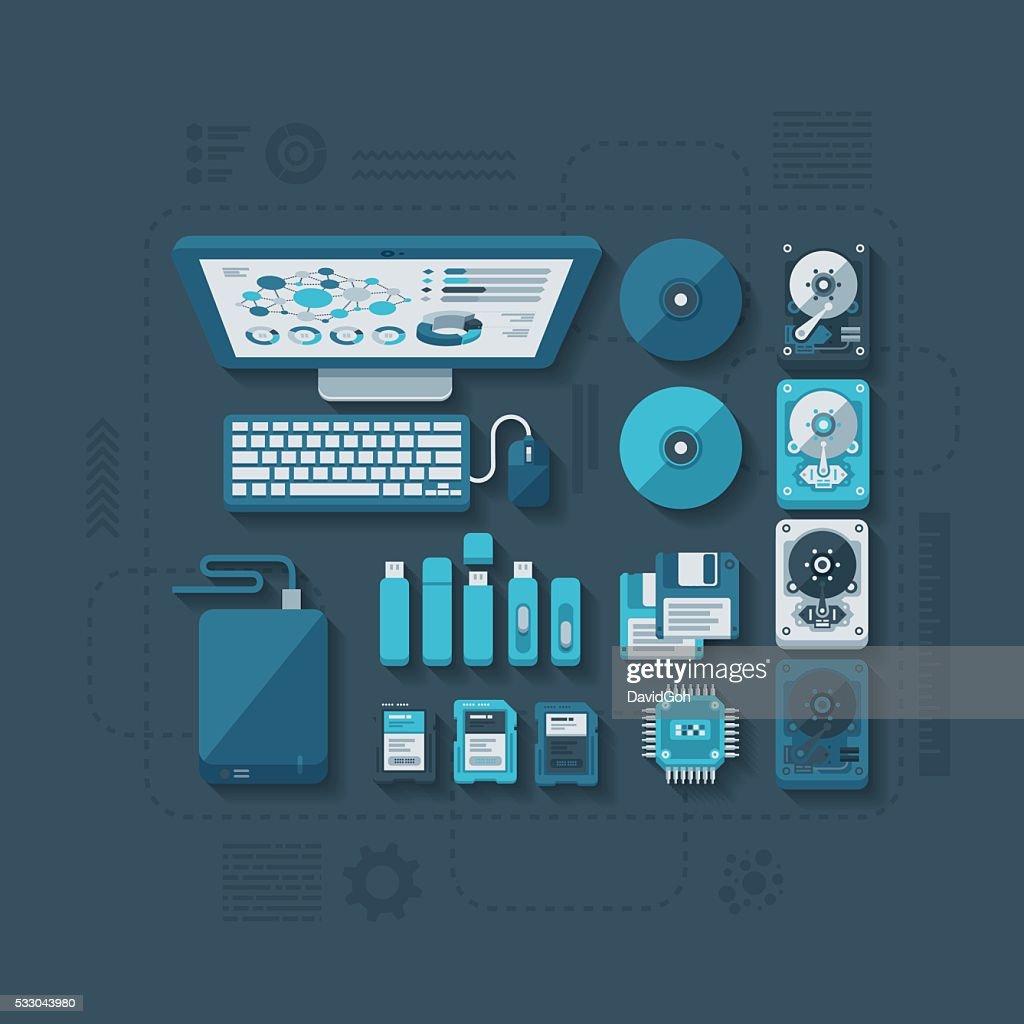 Data Storage Flat Design Concept