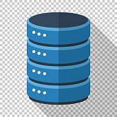 Data storage icon in flat style with long shadow on transparent background