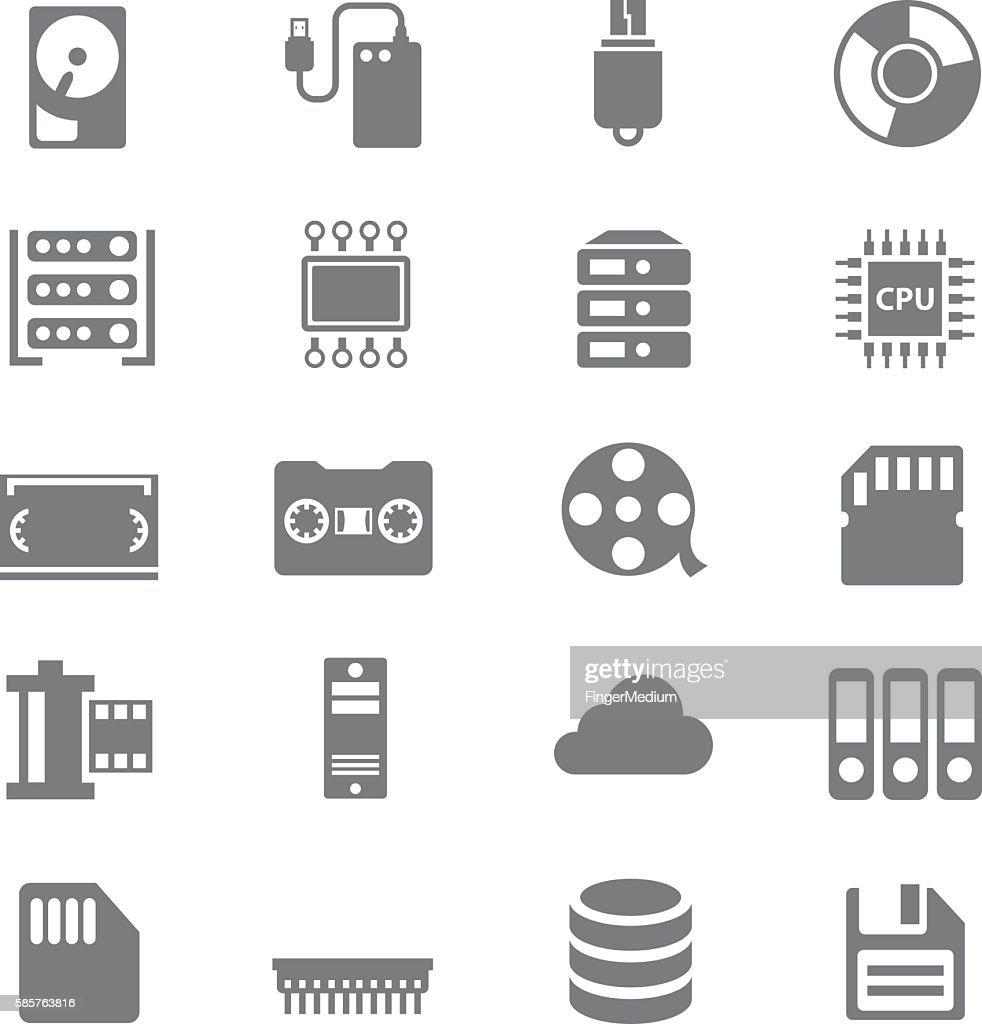 Data storage icons set