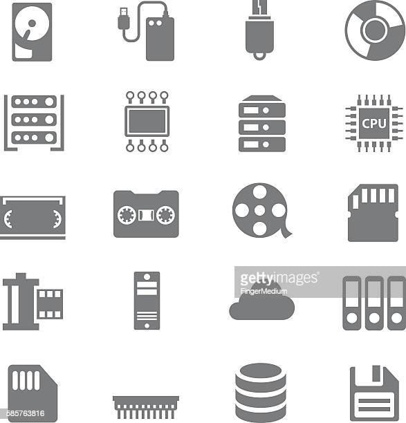 data storage icons set - dvd stock illustrations