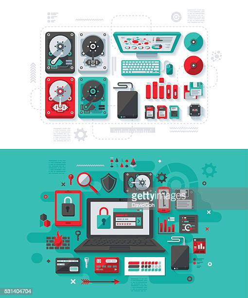 data storage & it security concept - usb stick stock illustrations, clip art, cartoons, & icons