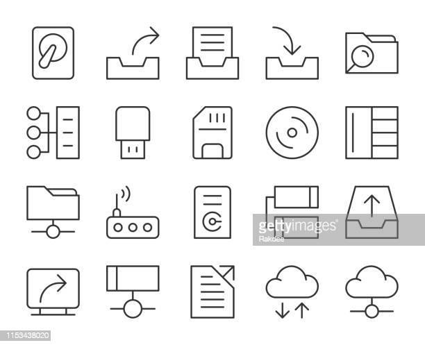 datenspeicherung-licht line icons - lagerhaltung stock-grafiken, -clipart, -cartoons und -symbole