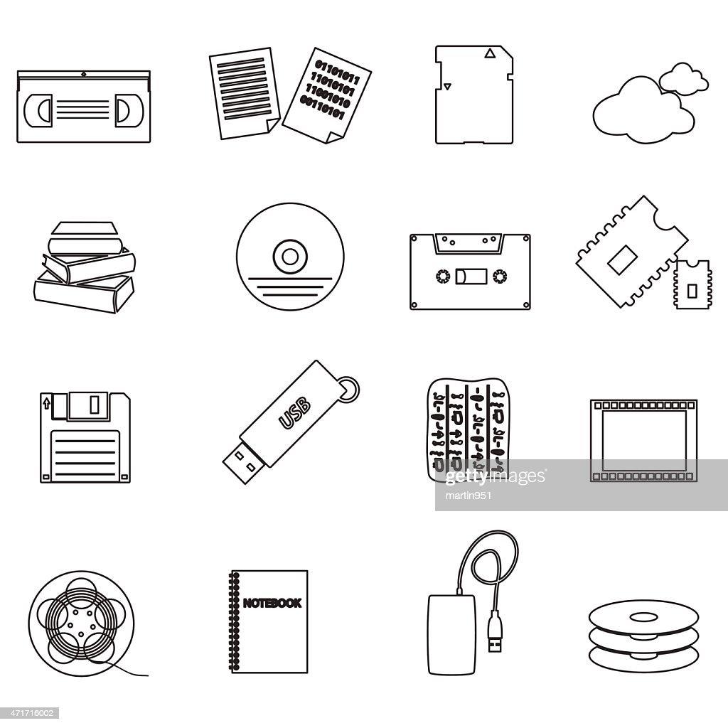 data storage media black simple outline icons eps10