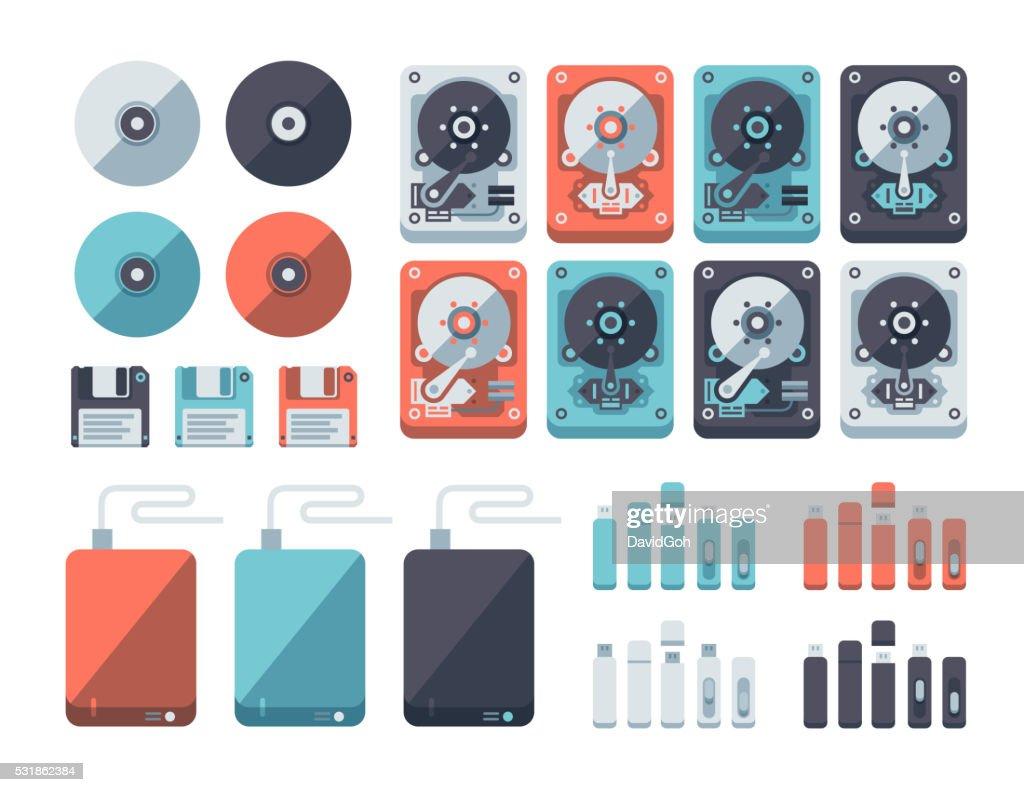 Data Storage Media Flat Design Set