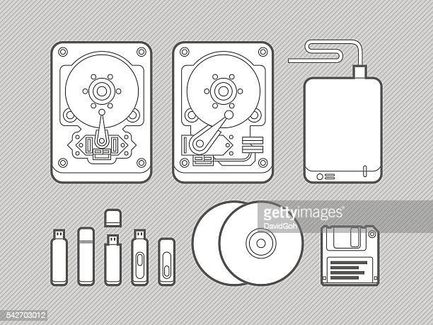 data storage media flat design set - floppy disk stock illustrations, clip art, cartoons, & icons