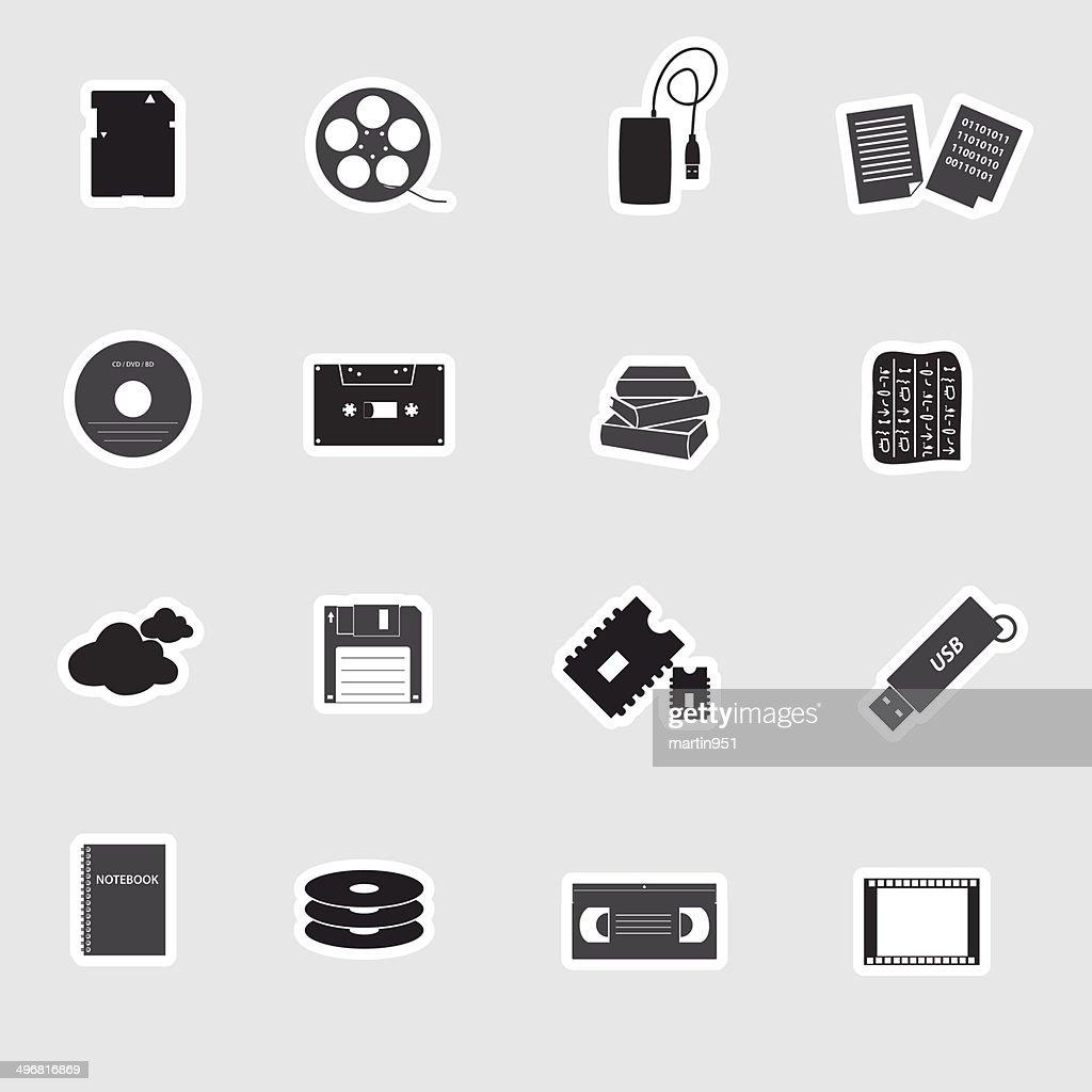 data storage media stickers eps10