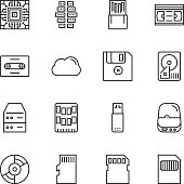 Data storage vector line icon set