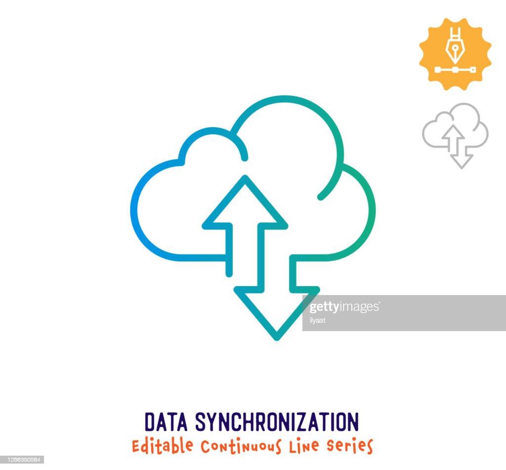 データ同期連続線編集可能ストロークアイコン : ストックイラストレーション