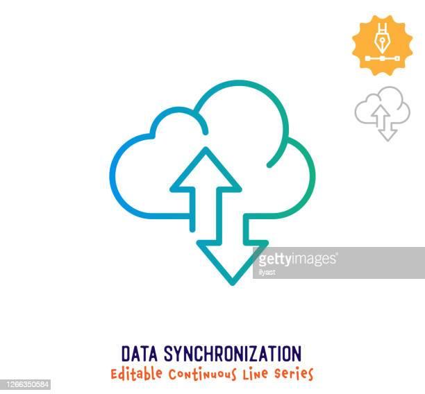 データ同期連続線編集可能ストロークアイコン - ソフトウェアアップデート点のイラスト素材/クリップアート素材/マンガ素材/アイコン素材