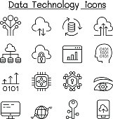 Data Technology, Database, Cloud Computing, Server, Computer network icon set in thin line style