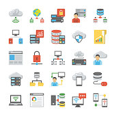 Database and Cloud Technology Flat Icons