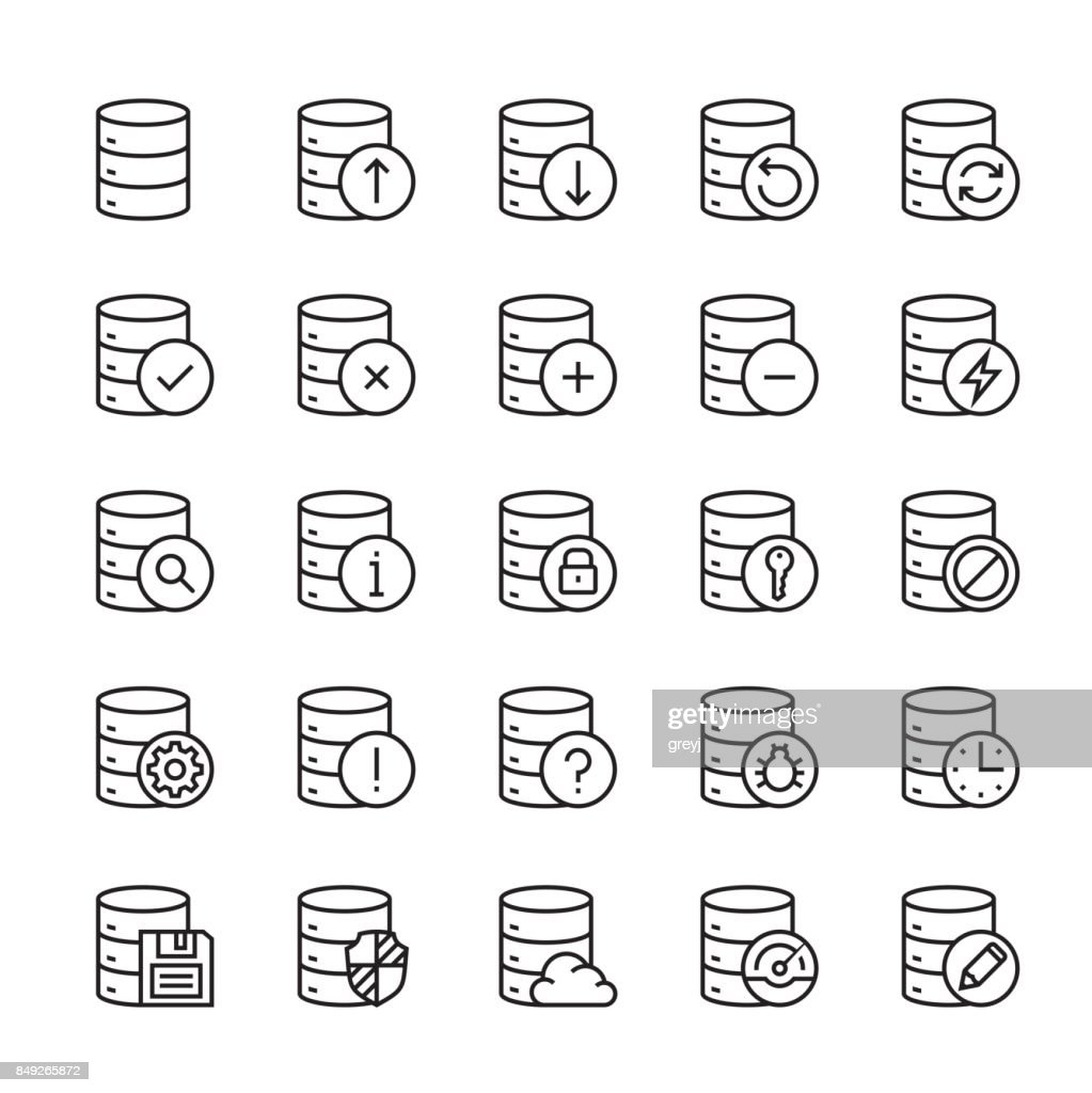 Database and data center vector icon set in thin line style