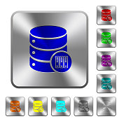 Database archive rounded square steel buttons