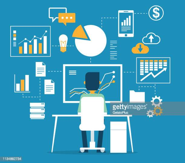 database - businessman - data stock illustrations