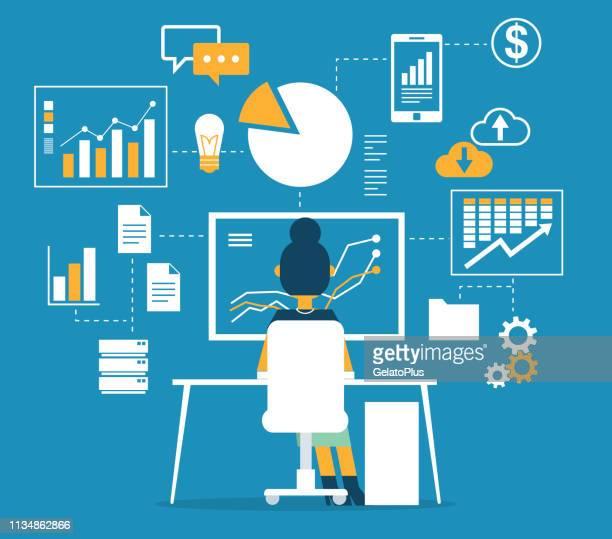 database - businesswoman - big data screen stock illustrations