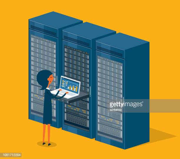 database center - businesswoman - storage room stock illustrations, clip art, cartoons, & icons