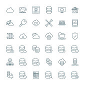 Database, cloud computing, network vector icons set