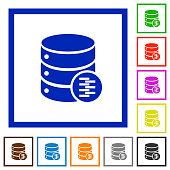 Database compress data flat framed icons