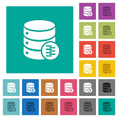Database compress data square flat multi colored icons