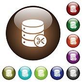 Database cut color glass buttons