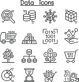 Database , Data & Graph icon set in thin line style