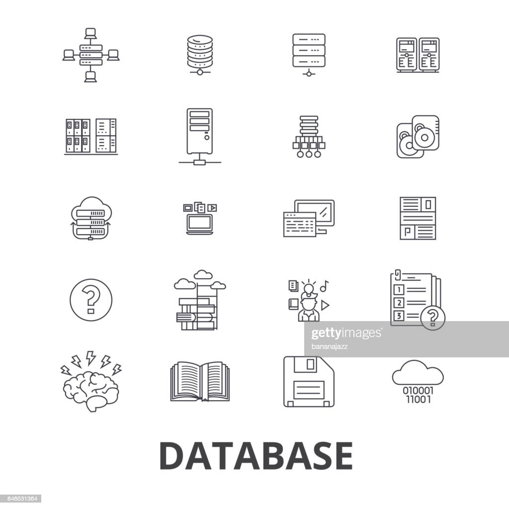 Database, data management, hosting, technology, db, server, storage, backup line icons. Editable strokes. Flat design vector illustration symbol concept. Linear isolated signs