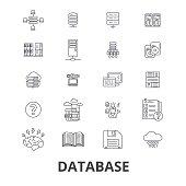 Database, data management, hosting, technology, db, server, storage, backup line icons. Editable strokes. Flat design vector illustration symbol concept. Linear isolated signs