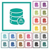 Database error flat color icons with quadrant frames