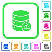 Database error vivid colored flat icons icons