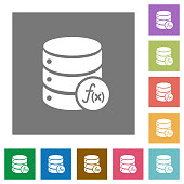 Database functions square flat icons