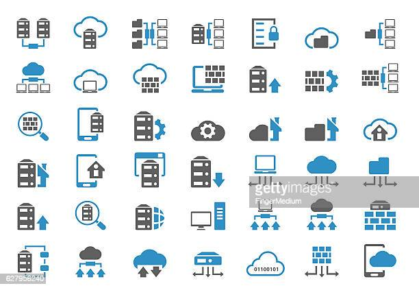 database icon set - storage room stock illustrations, clip art, cartoons, & icons