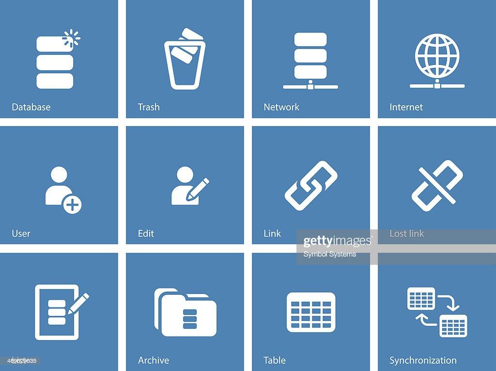 Database icons on blue background.