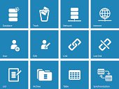 Database icons on blue background.