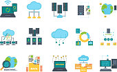 Database icons. Server cloud management network processes security computer bases online vector flat pictures set