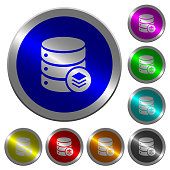 Database layers luminous coin-like round color buttons