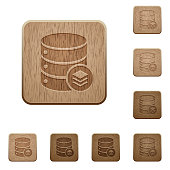 Database layers wooden buttons