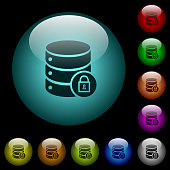 Database lock icons in color illuminated glass buttons