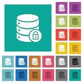 Database lock square flat multi colored icons
