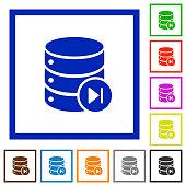 Database macro next flat framed icons