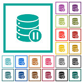 Database macro pause flat color icons with quadrant frames