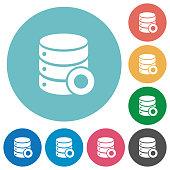 Database macro record flat round icons