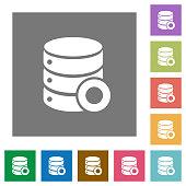 Database macro record square flat icons