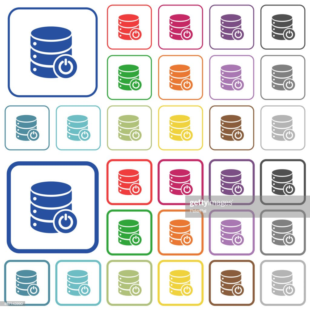 Database main switch outlined flat color icons