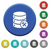 Database maintenance beveled buttons