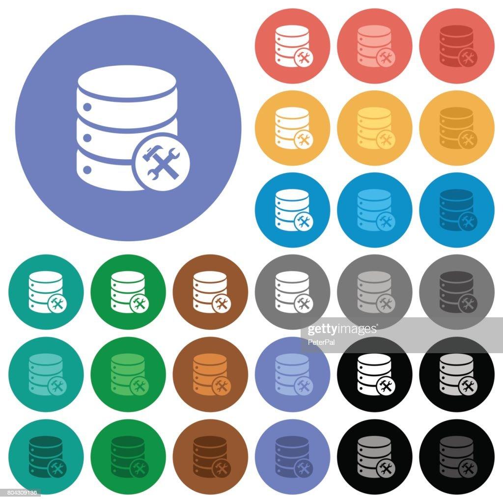 Database maintenance round flat multi colored icons